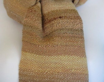 Desert Sand - Hand woven merino wool and cotton scarf
