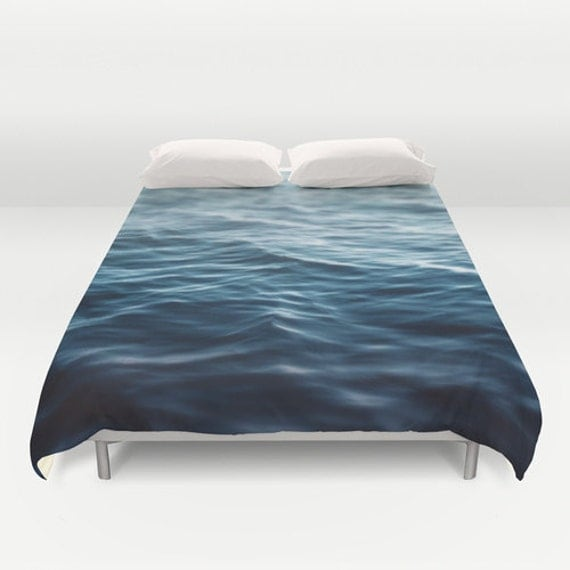 Duvet cover deep ocean blue coastal waters bedding by for Covers from the ocean