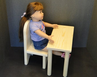 Small Table/Desk with Chair for 18 inch Dolls (0133)