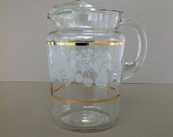 Vintage Glass Pitcher, Bartlett Collins Glass Pitcher, Pitcher with White Textured Sugar Frosting Fruit Design, Mid Century Barware Pitcher
