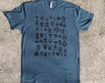 Men's Indigo Tee. Hand screen printed. All Cotton.