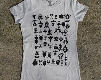 Women's Silver Tee. Hand screen printed. All Cotton
