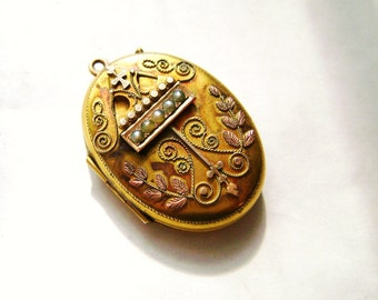 Victorian 14k Gold Locket with Seed Pearls, Antique Gold Locket, Gift for Her