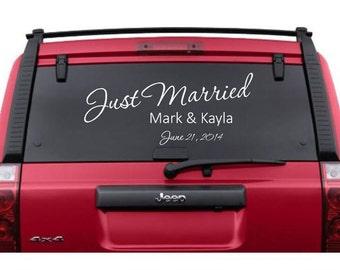 Custom Just Married Vinyl Car Window Decal Personalized Vinyl Sticker Wedding Decor Getaway Car Honeymoon CE20-1