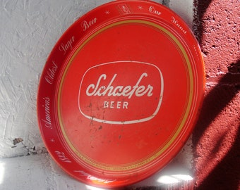 Vintage Schaefer Beer Tray Red Metal White Lettering.  CANCO.