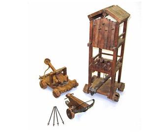 Unique Set of Medieval Scale Models - Crossbow, Catapult, Siege tower. SCA, LARP, Renaissance Combat Knight Warrior