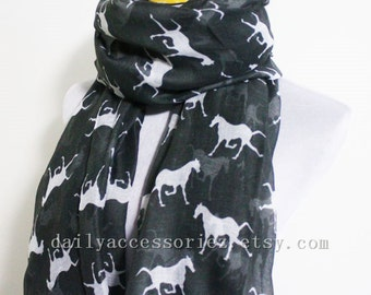 Black Horse Scarf Minty Green Horse Loop Scarf Brown Horse Scarf Fall Scarf Winter Soft and Chunky Scarf Large Scarf