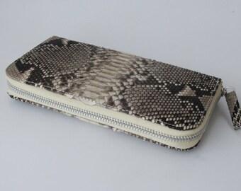 Natural brown/creme- Genuine Python snakeskin zip around wallet - Large