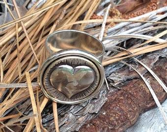 SALE Adjustable Antique Heart ring - silver