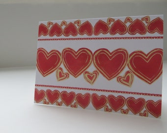 Rows of Hearts - 4x5.5 - Art Recycled Paper