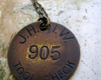 vintage brass j.h.i.w. tool check tag necklace
