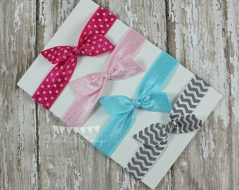 4 No Tug Elastic Hair Ties - Pink and Gray hair tie set - Chevron hairties