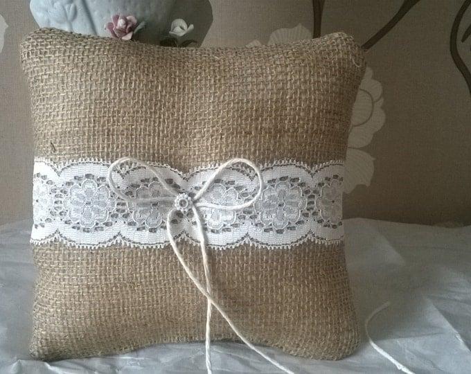 Burlap Ring Bearer Pillow, Made to order