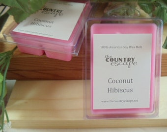 Coconut Hibiscus Scented 100% Soy Wax Melt - Tropical Paradise-Maximum Scented