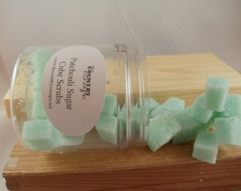 Patchouli Sugar Scrub Cubes- with Essential Oil and Jojoba Oil- Gentle Exfoliation