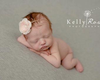 Newborn Pink Cream Headband, Newborn Headband Prop, Baby Twine Headband