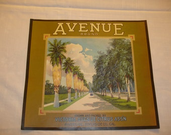 Avenue Brand  Crate Label 1930's