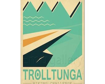 Norway, retro travel poster, art print, Trolltunga Troll's tongue, Nordic landscape, explore Scandinavia, hike, climb, mountains, wall decor