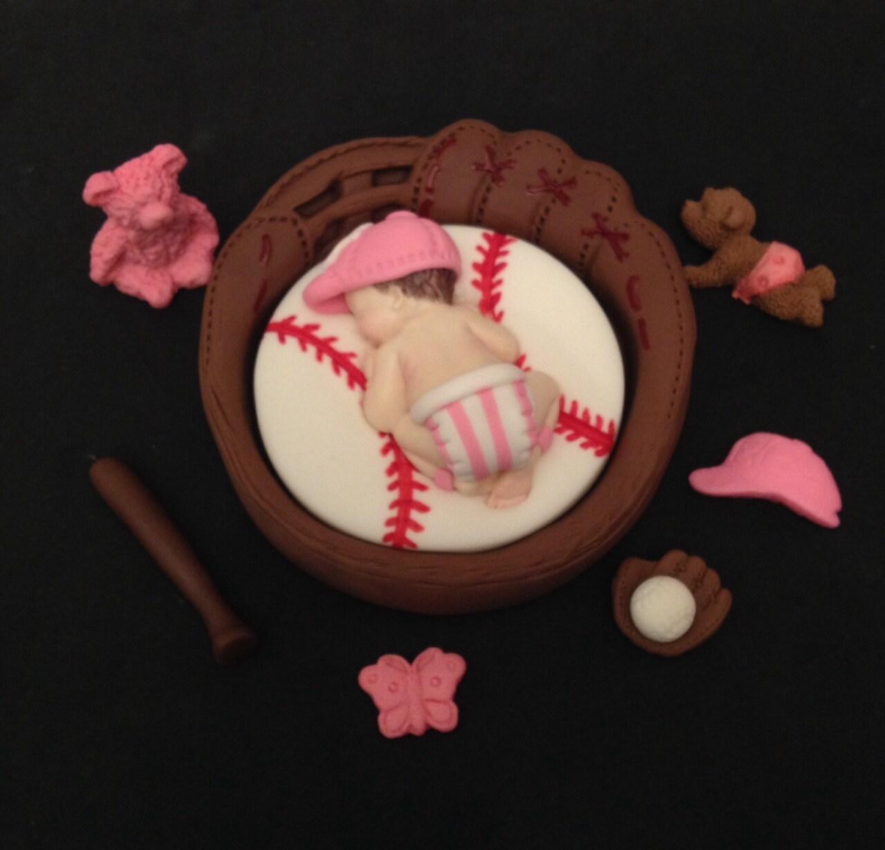 fondant baseball baby girl 3d yankees team cake topper baby