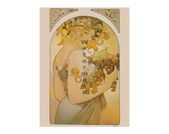 Alphonse Mucha: Le Fruit - Vintage Art Nouveau Poster/Print (reproduction)