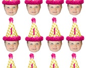 DIY printable polkadot birthday hat photo cupcake toppers.