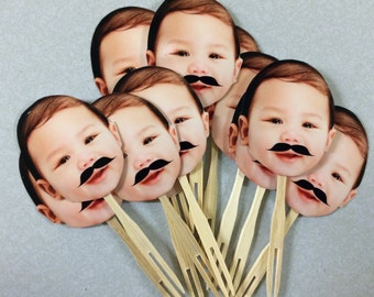 Mr. Man mustache Birthday Photo cupcake toppers. set of 12