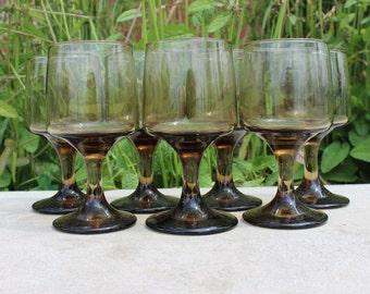 4 Vintage TAWNY accent  Brown Wine Glasses, Libbey Retro Barware, Retro Libbey Wine tawny brown glasses perfect for wedding toasting
