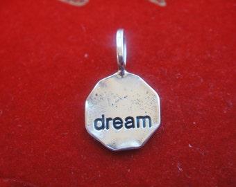 "925 sterling silver oxidized disc ""dream"", silver ""dream"", dream disc"