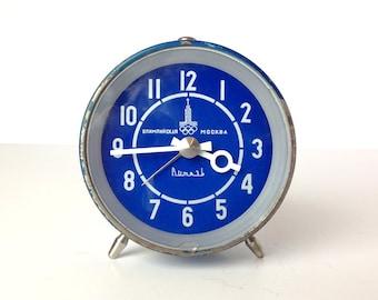 Vintage Blue Alarm Clock / Moscow Olympics logo / Vitjazj / USSR 70s