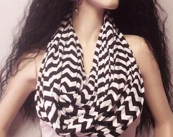 Black & White  Chevron Print  Infinity Scarf  Super SOFT Jersey Knit