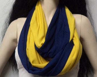 Gold & Navy Blue  Infinity Scarf SUPER Soft Jersey Knit Team Spirit, Men Womens Fashion Accessories Fall Fashion Game Day Team Football