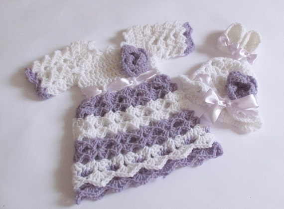 Baby dress hat shoes in white lilac color baby by paintcrochet