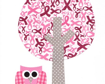 Owl with a Tree Print for Breast Cancer Awareness Nursery Artwork Print Baby Room Decoration Kids Room Gifts Under 20 wall art