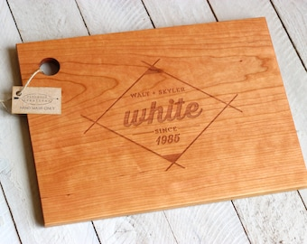 Custom Engraved Wood Cutting Board - Modern Geometric Design