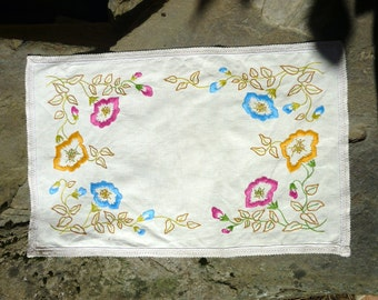French colourful cotton hand embroidered tray cloth