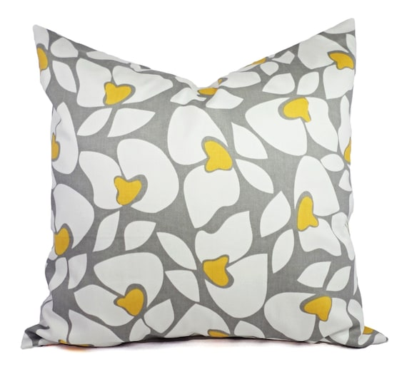 Modern Pillow Covers Etsy : Two Grey Floral Decorative Pillow Covers Grey Yellow and White