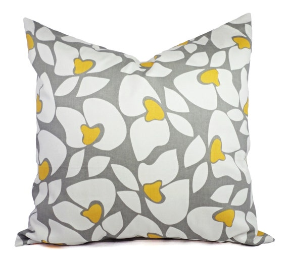 Yellow And Grey Throw Pillow Covers : Two Grey Floral Decorative Pillow Covers Grey Yellow and White