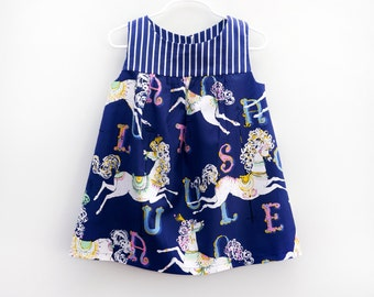 Girls Carousel Dress, Girls Boutique Dress, Party Dress, Chic Girls Dress, Whimsical Vintage