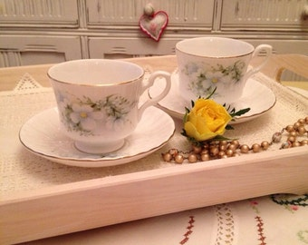 Vintage Royal Stafford Blossom Time Teacup and Saucer with white blossom. C1940-1952.