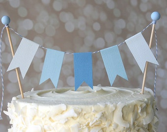 It's A Boy Baby Blue Ombre Birthday Shower Cake Bunting Pennant Flag Cake Topper-MANY Colors to Choose From!  Birthday, Shower Cake Topper