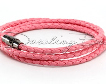 Pink Braided Genuine Leather Triple Wrap Bracelet