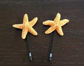 "Two (Pair) Orange Sugar Starfish Hairpins 3"""