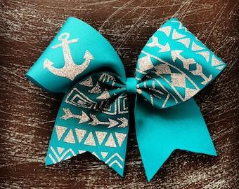 SALE teal tribal print cheer bow
