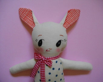 Bunny Plushie - Handmade ragdoll Bunny plush toy softie baby toy - made to order