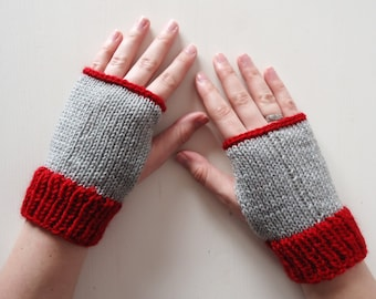 Red and grey fingerless mittens, soft wool mitts with a retro look and feel