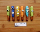 MONSTER Mini Chocolate Pretzels - (24) Monsters/MONSTER Birthday/Monster Party/MONSTER Favors