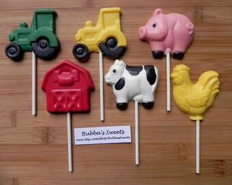 BARNYARD or FARM Chocolate Pops (12) - Rodeo Party/Farm Party/Barnyard Bash