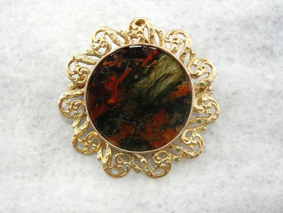 Golden Moss Agate: Colorful Carnelian Moss Agate And Fine Gold Filigree Brooch Or