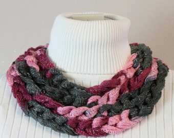 Chain Stitch Skinny Scarf in Burgundy, Pink and Charcoal Gray