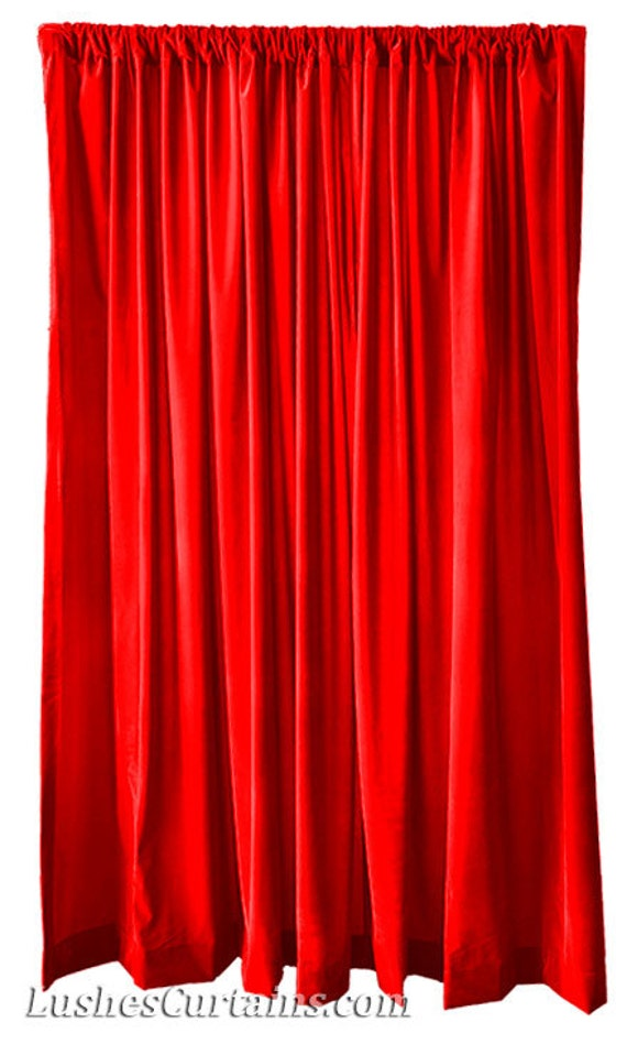 Modern Bright Red Flock Velvet 96 Inch H Curtain Long Panel